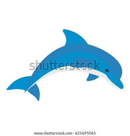 blue dolphin icon flat isolated