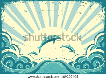 Blue dolphins jumping in sea in summer day.Grunge image