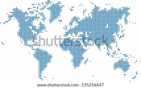 Round world map download free vector art stock graphics images blue dots world map on white background vector illustration gumiabroncs Image collections