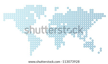 Blue dotted world map. Vector illustration.