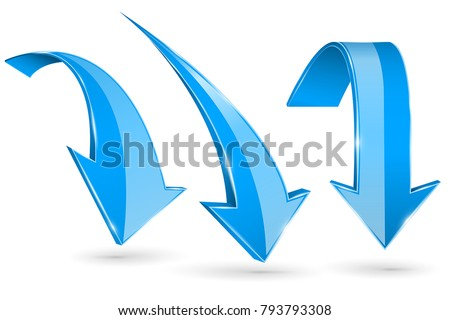 Blue down arrows. Vector 3d illustration isolated on white background