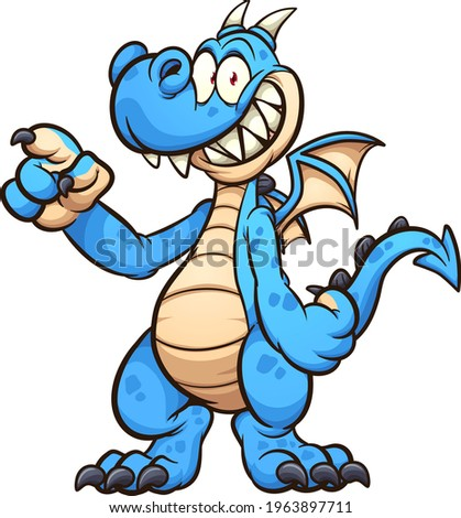 Blue dragon cartoon character standing up and pointing. Vector clip art illustration with simple gradients. All on a single layer.