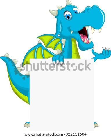 blue dragon cartoon holding