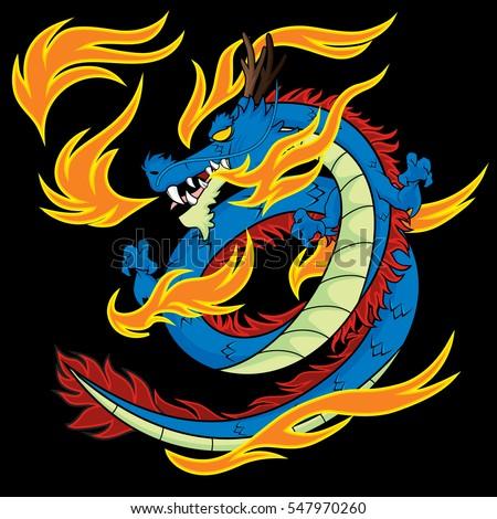 blue dragon vector illustration