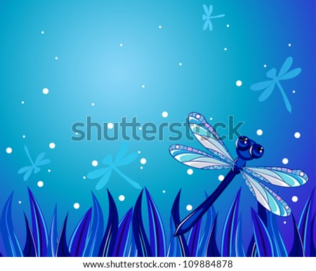 blue dragonfly flying over the