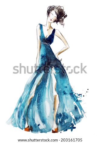 blue dress fashion illustration