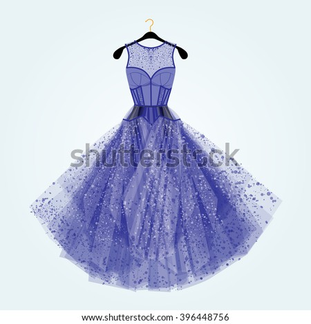 blue dress with rhinestones