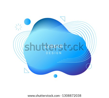 Blue dynamic light on fluid blotch. Gradient liquid blob with circles, triangle and wavy lines. Modern abstract background for card design or logo template. Dynamical colored shapes