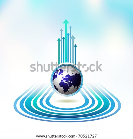 Blue Earth with colored arrows, vector illustration