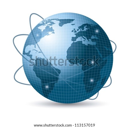 blue earth with web of satellites with shadow. vector illustration