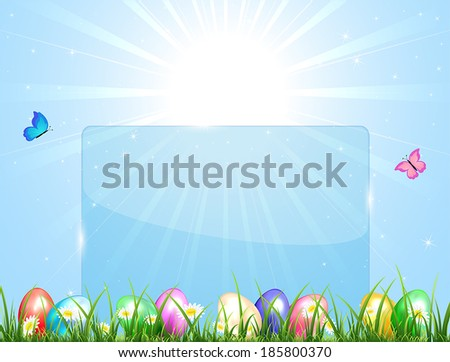 Blue Easter banner with eggs in a grass, illustration.