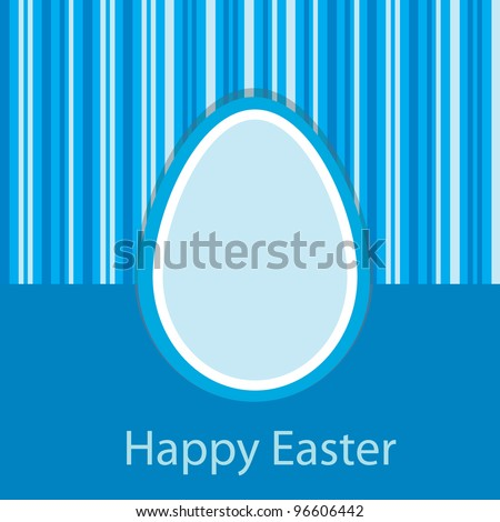 blue easter card with one egg