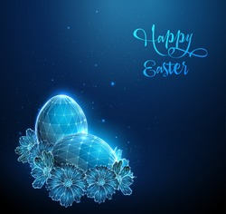 Blue Egg surrounded by flowers. Happy Easter card. Low poly style design. Abstract geometric background. Wireframe light connection structure. Modern 3d graphic concept. Isolated vector illustration.