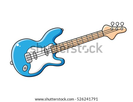 Blue Electric Guitar Isolated