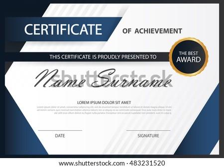 clean blue certificate design modern template - Download Free Vector ...