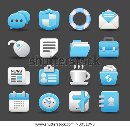Blue Elegant series | business , internet,office,work icon set
