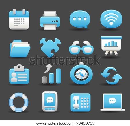 Blue Elegant series   business , internet,office,work icon set