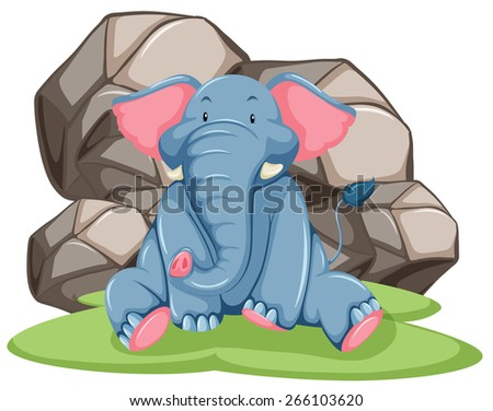 blue elephant sitting in front