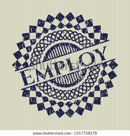 Blue Employ rubber grunge stamp