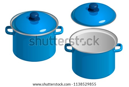 Blue enamel saucepan with lid, open and closed, isolated on white background Stock foto ©
