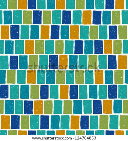 Blue endless mosaic square pattern. Seamless retro texture. Template for design and decoration