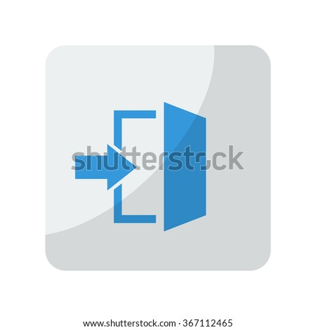 blue enter icon on grey rounded ...