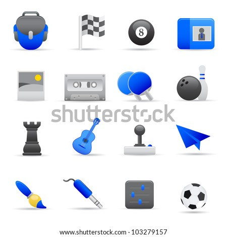 Blue Entertainment Icons Professional vector set for your website, application, or presentation. The graphics can easily be edited colored individually and be scaled to any size