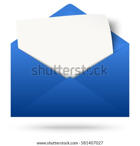 blue envelope opened with empty white paper and shadow