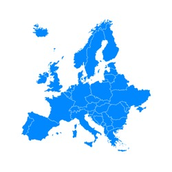 blue europe map on a white background in flat