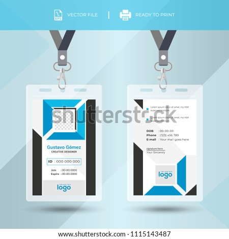 blue event staff id card set with lanyard. vector design and text template illustration