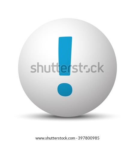 Blue Exclamation Mark icon on sphere on white background