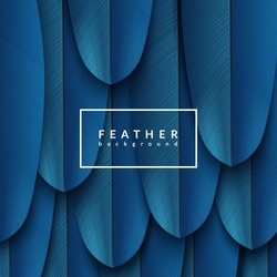 Blue feather background. Abstract dynamic composition. Eps10 vector feather illustration.