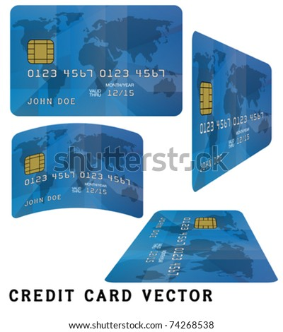 Blue Fictitious Credit Card on White Background