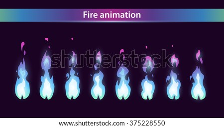 blue fire animation sprites