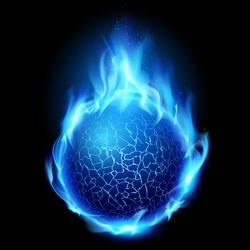 Blue fire ball. Illustration on black background for design