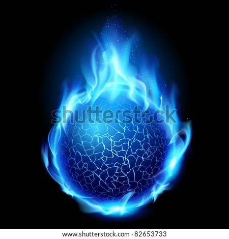 Blue fire ball. Illustration on black background for design