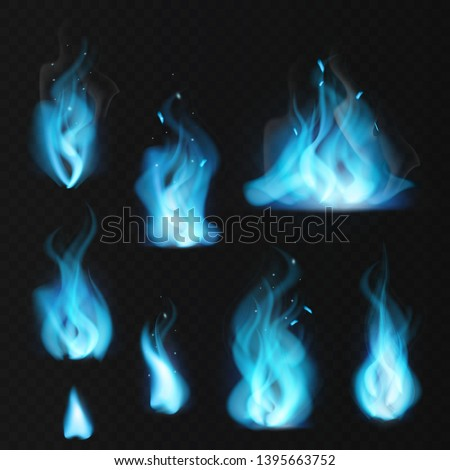 Blue flame. Burning fiery natural gas hot fireplace flames warm fire blazing realistic bonfire effect blue magic flaming vector set