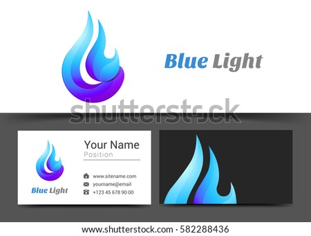blue flame fire corporate logo