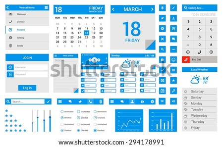 Blue Flat ui kit - flat design mobile web ui elements: Icons, web forms, button, weather, check box, calendar, menu, day, icon, dial, login, note, media, player, radio button, switch button etc