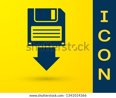 Blue Floppy disk backup icon isolated on yellow background. Diskette sign. Vector Illustration