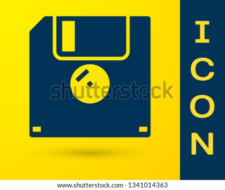Blue Floppy disk for computer data storage icon isolated on yellow background. Diskette sign. Vector Illustration