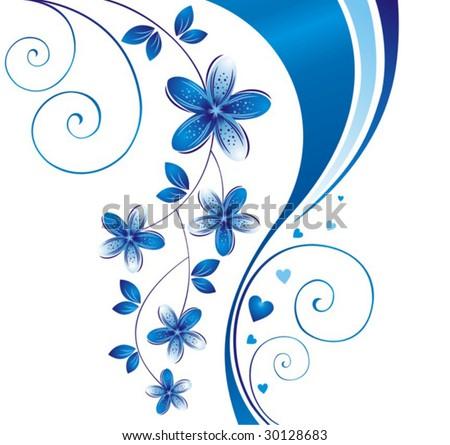 Blue flower. Floral background. - stock vector