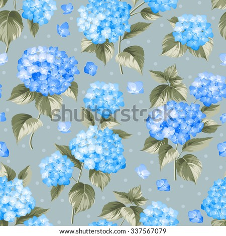 Blue flower hydrangea. Seamless background. Mop head hydrangea flower pattern. Beautiful blue flowers. Vector illustration.