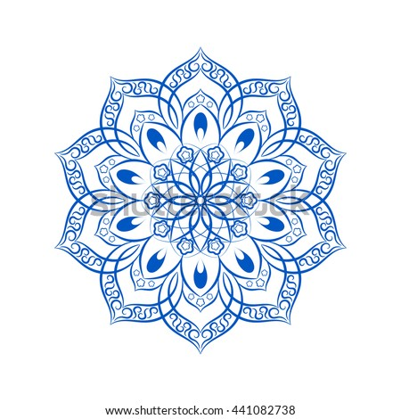 blue flower mandala over white