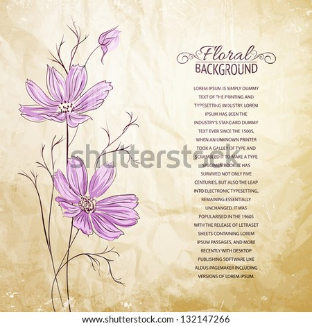 Blue flower over brown background. Vector illustration, contains transparencies, gradients and effects.