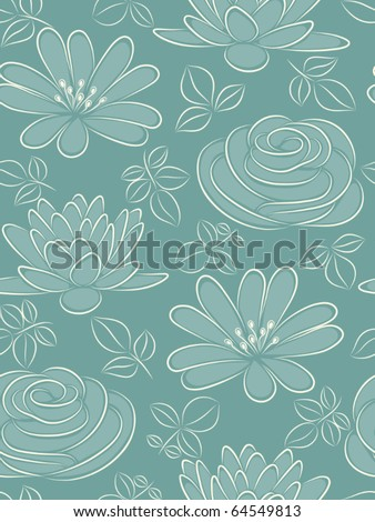 Blue flower seamless pattern. Vector illustration.