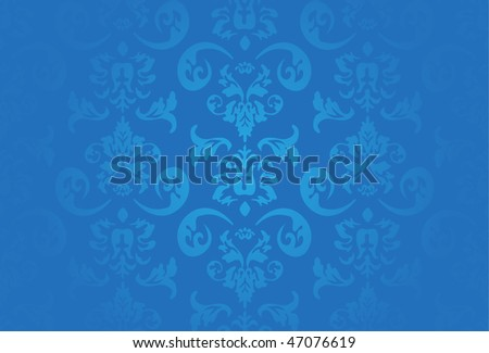 blue flower wallpaper. stock vector : Blue flower