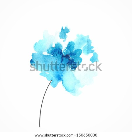 Blue flower Watercolor floral illustration Floral decorative element Vector floral background