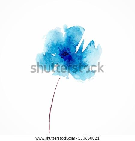 blue flower watercolor floral