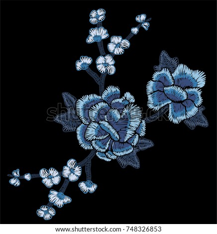 blue flowers embroidery